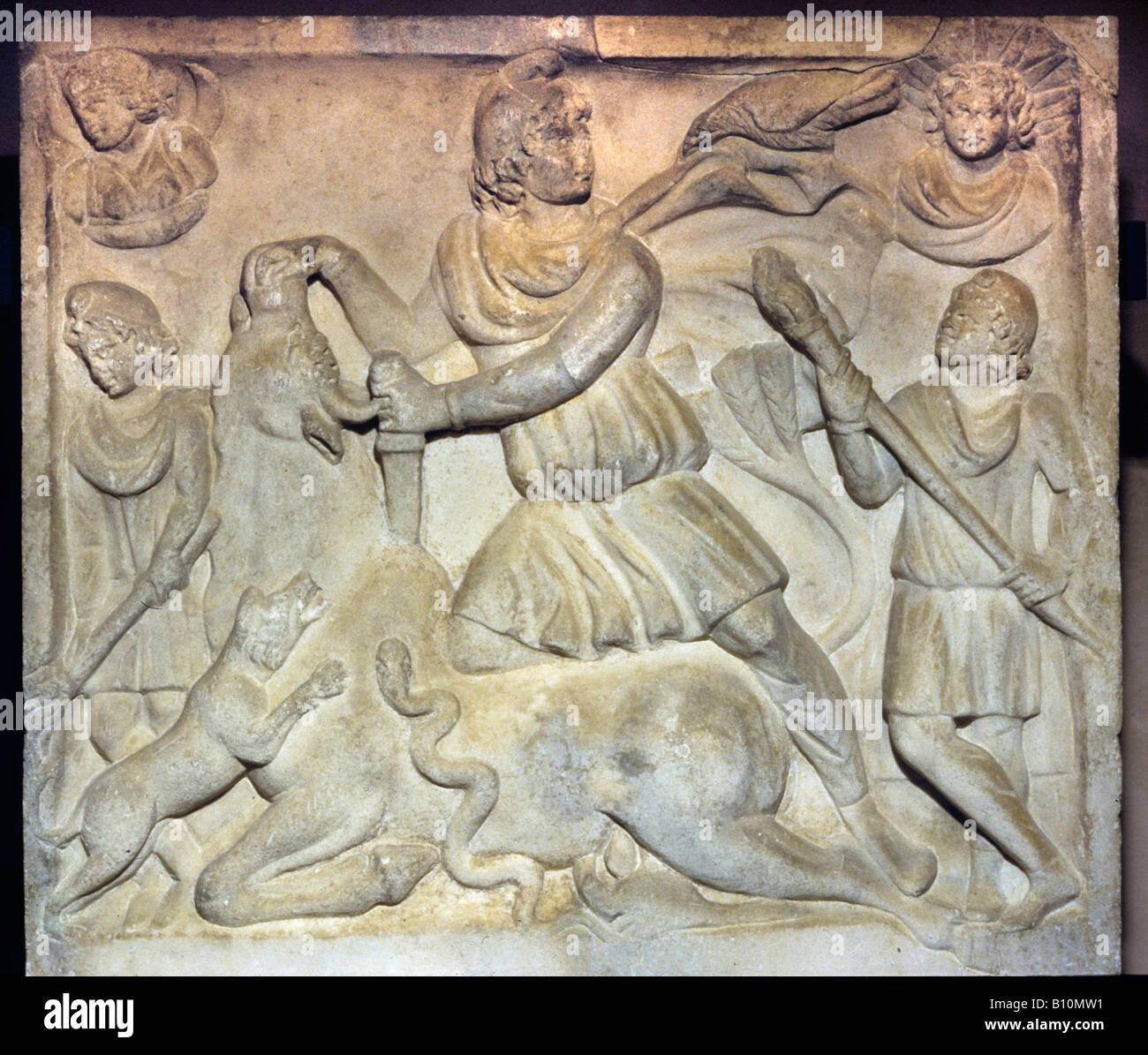 Mithras slaying the bull Roman relief - Stock Image