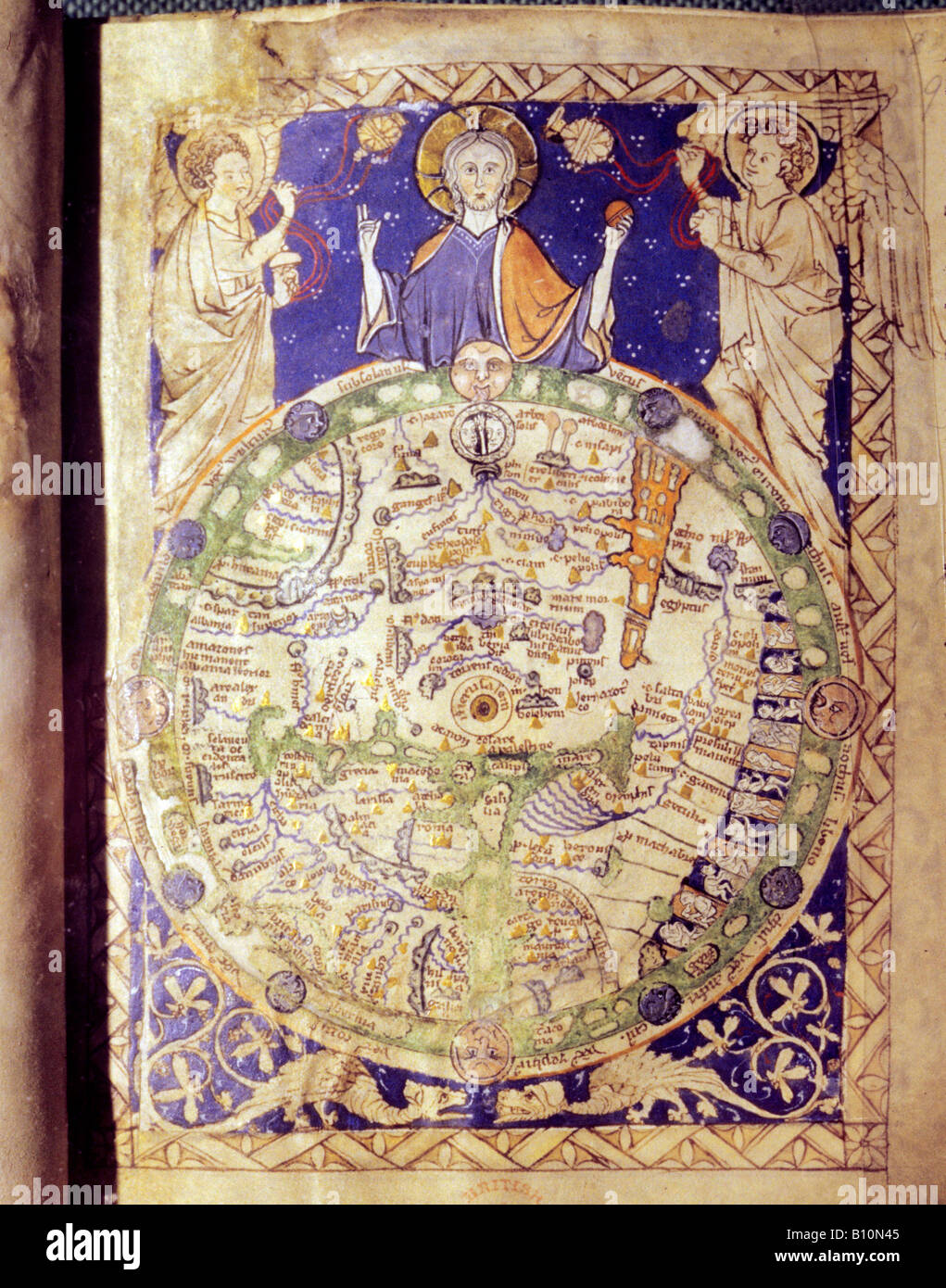 Medieval world map with Jerusalem at Centre 1275 - Stock Image