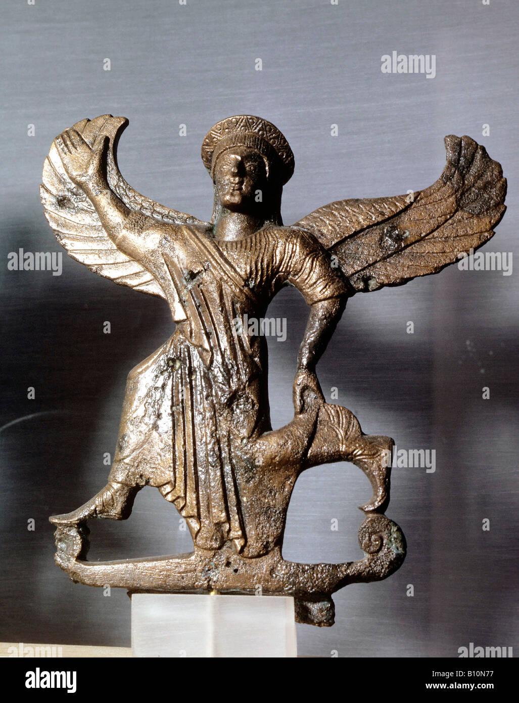 Nike Bronze statuette 4th cent BC Greece - Stock Image