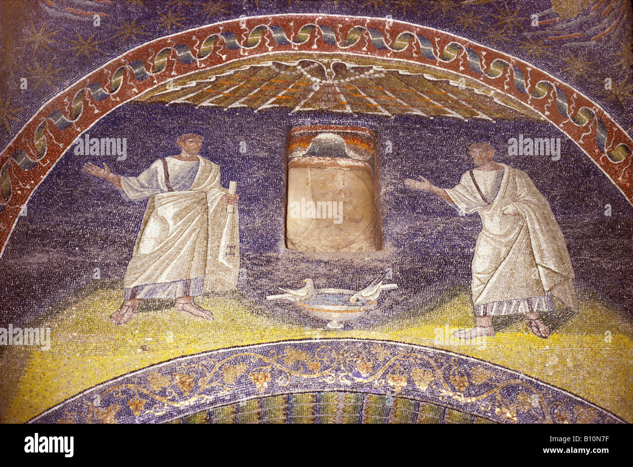 Ancient Art Architecture Collection Ltd Galla Placida Mausoleum mosaic Apostles Ravenna 5th c Italy - Stock Image