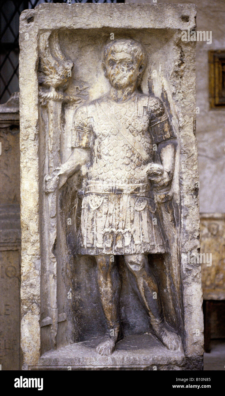 Roman Centurion with an eagle standard Italy  Copyright: Ancient Art Architecture Collection Ltd - Stock Image