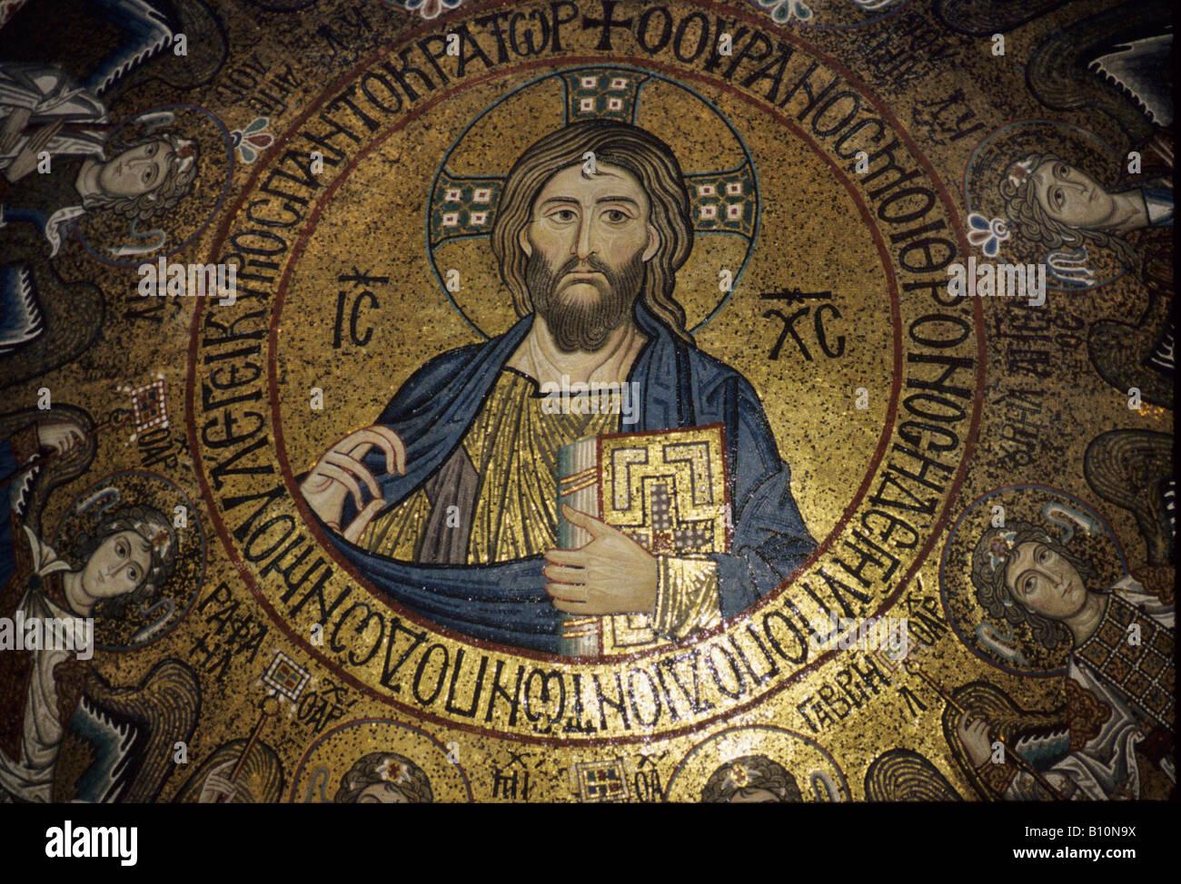 Christ Pantocrator Palatine Chapel Palermo Sicily Byzantine - Stock Image