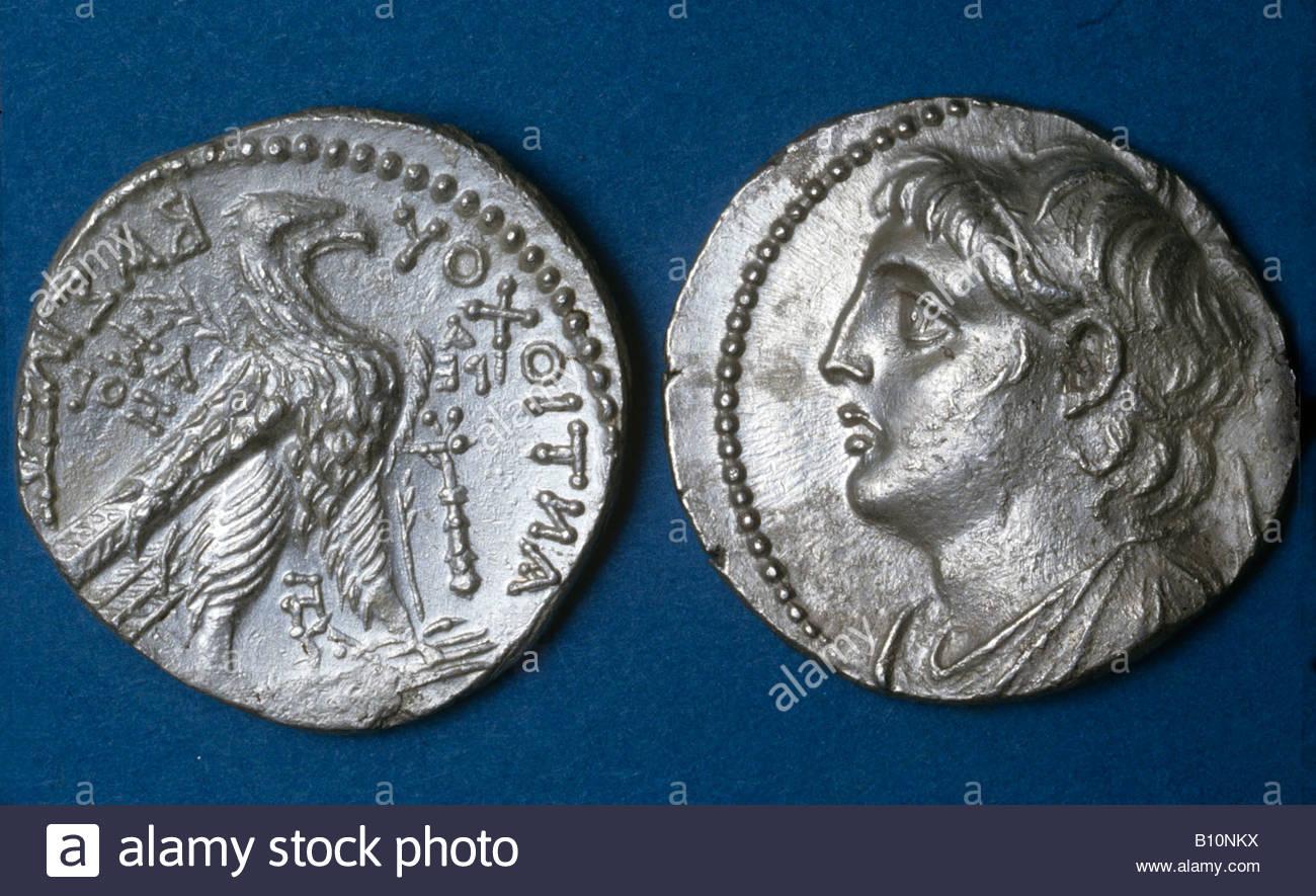 Antiochus IV tetradrachm King of Babylon 175 164 BC - Stock Image