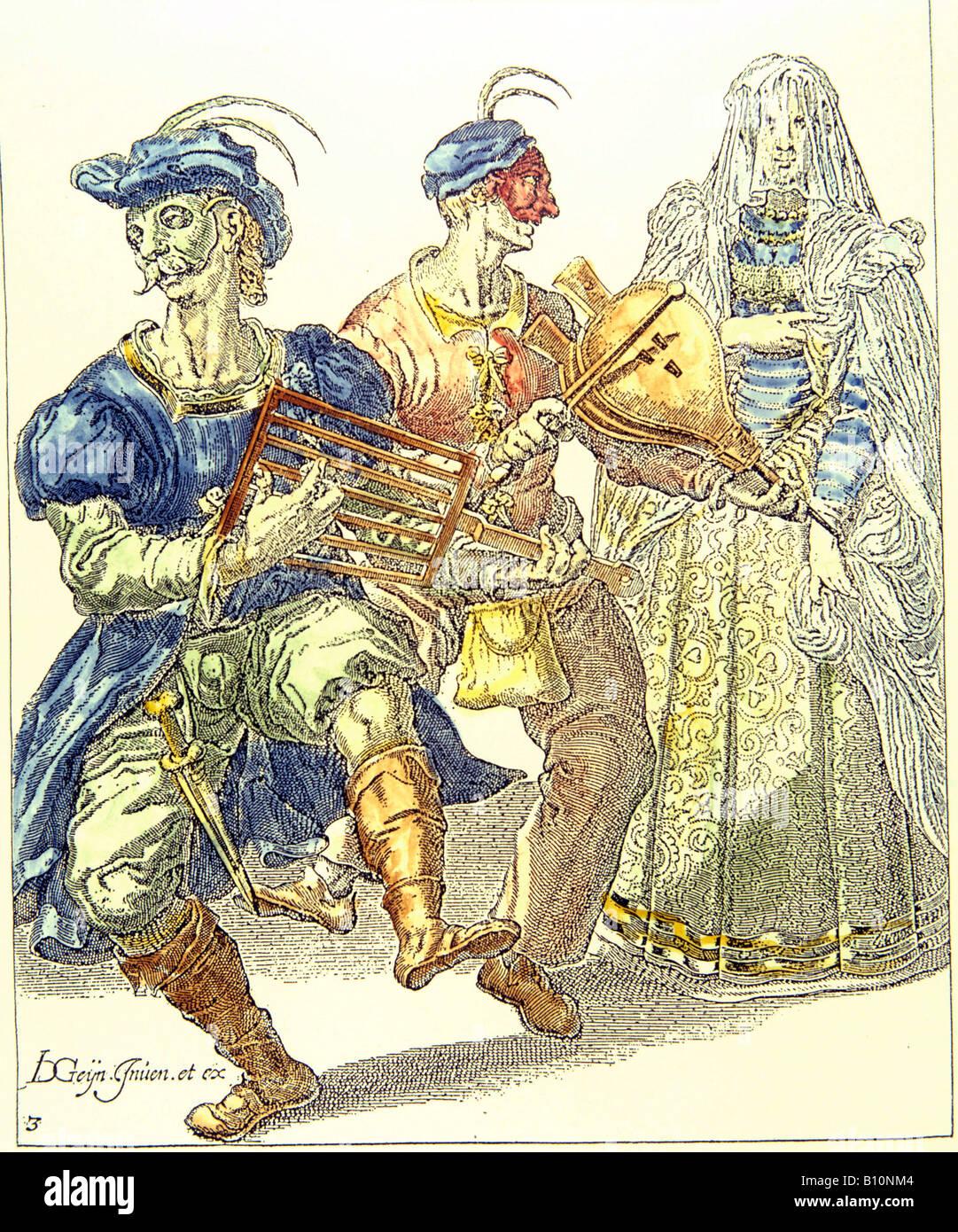 Venetian Masquerade dancient in costume 17th cent  Copyright Ancient Art Architecture Collection Ltd Stock Photo