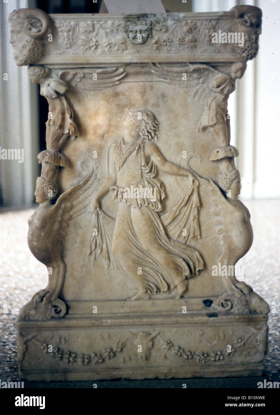 Maenad Greek relief on marble base 2nd c AD  Copyright AAAC Ltd - Stock Image