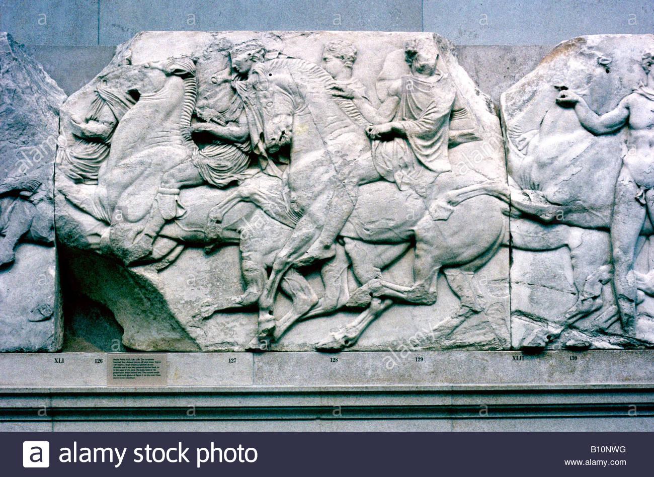 Horsemen from Parthenon frieze Acropolis Athens BM - Stock Image