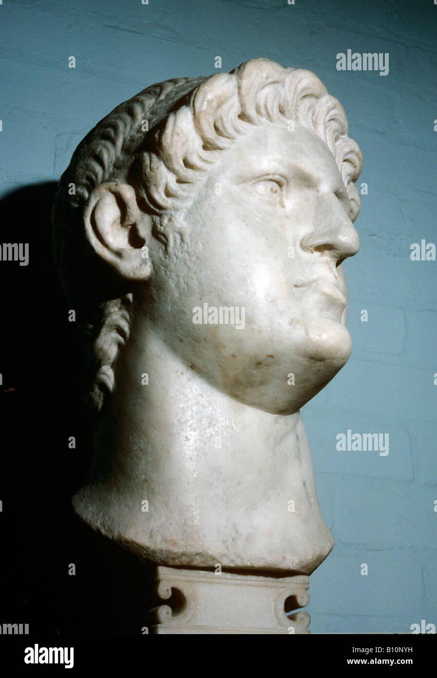 Bust of Roman Emperor Nero AD54 68 - Stock Image