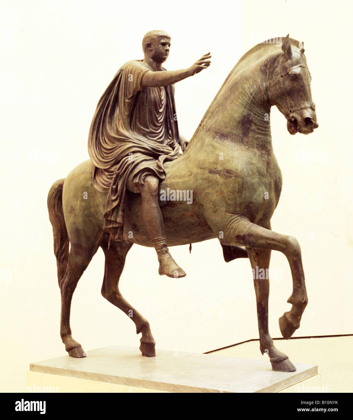 Caligula bronze equestrian statue 1st c Pompeii Italy - Stock Image