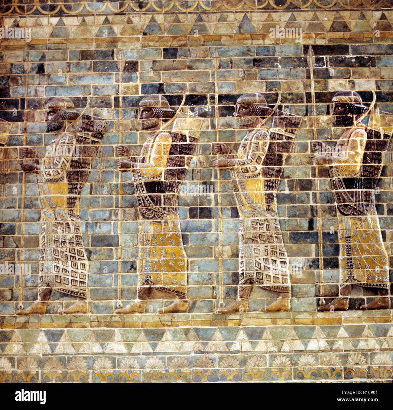 Susa Archers frieze from the Palace of Darius 522 586 BC Persian Empire IRAN - Stock Image
