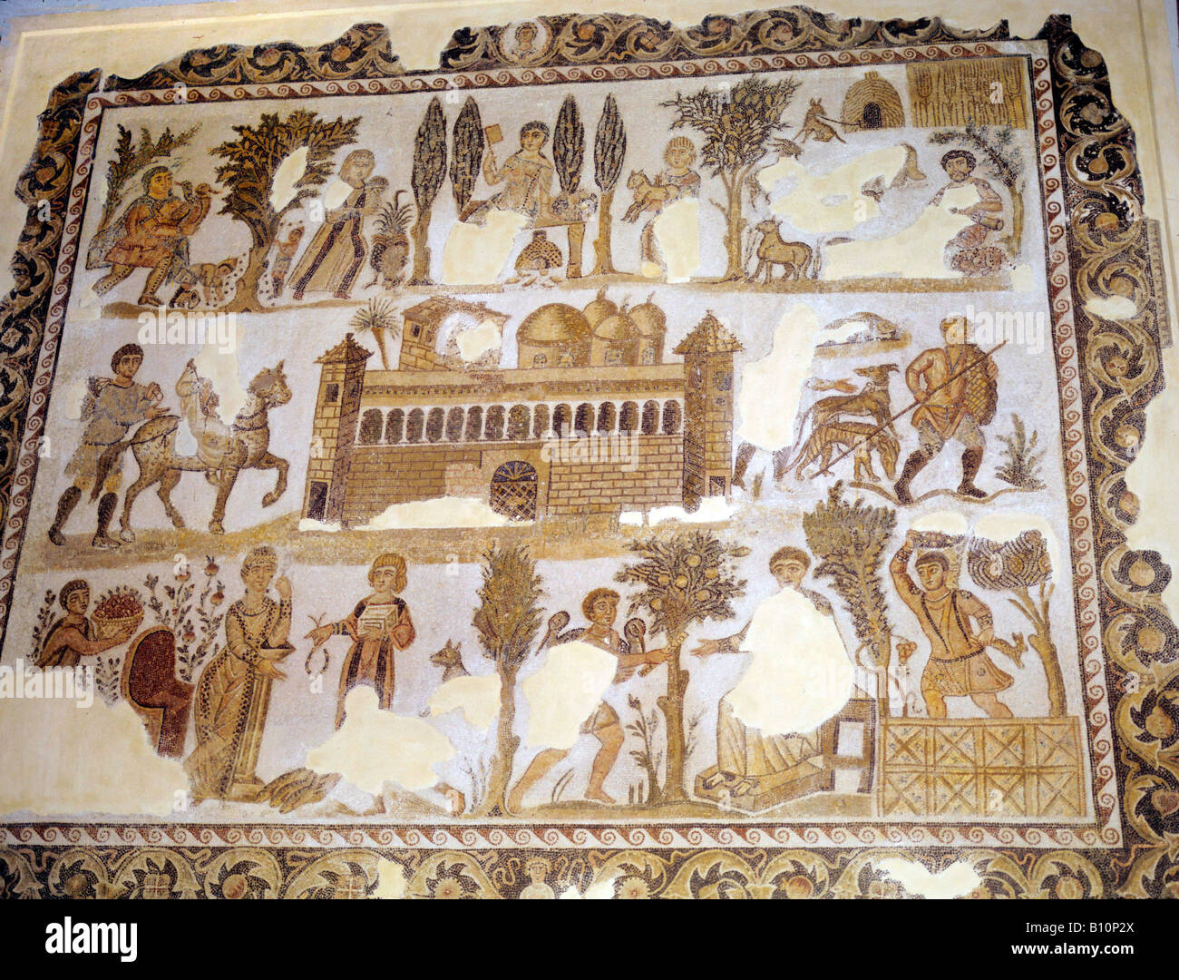 Activities on the estate of Seigneur Julius ; hunting, olive harvesting etc. Roman period mosaic. Daily life in - Stock Image