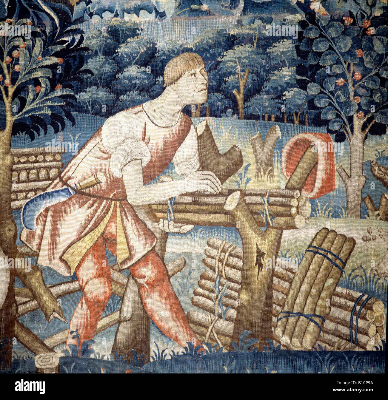 Flemish Tapestry woodcutter Le Main Chaud Early 16th cent Belgium  ©The Ancient Art & Architecture Collection - Stock Image