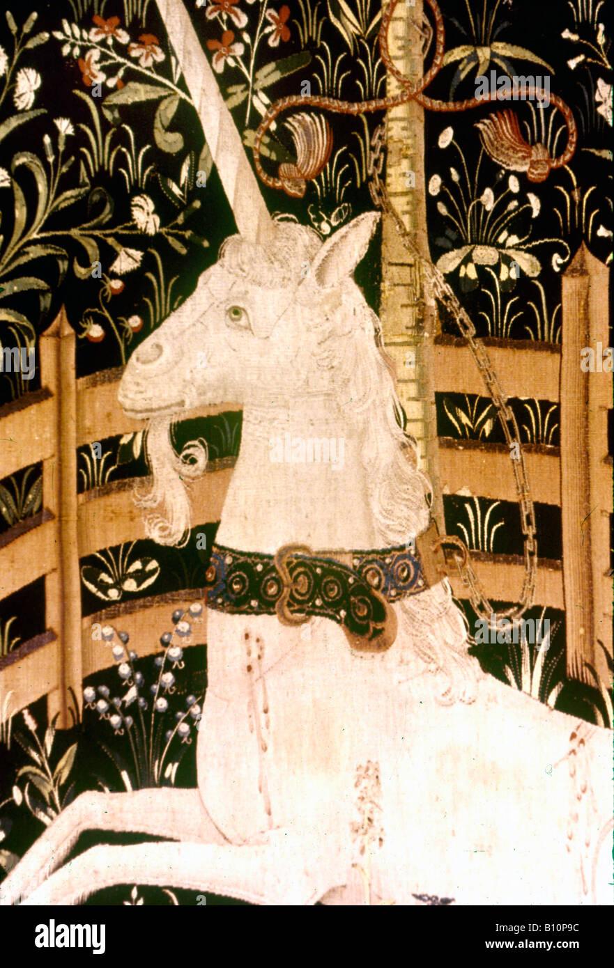 Flemish Tapestry unicorn 1500 Belgium  ©The Ancient Art & Architecture Collection Ltd. - Stock Image