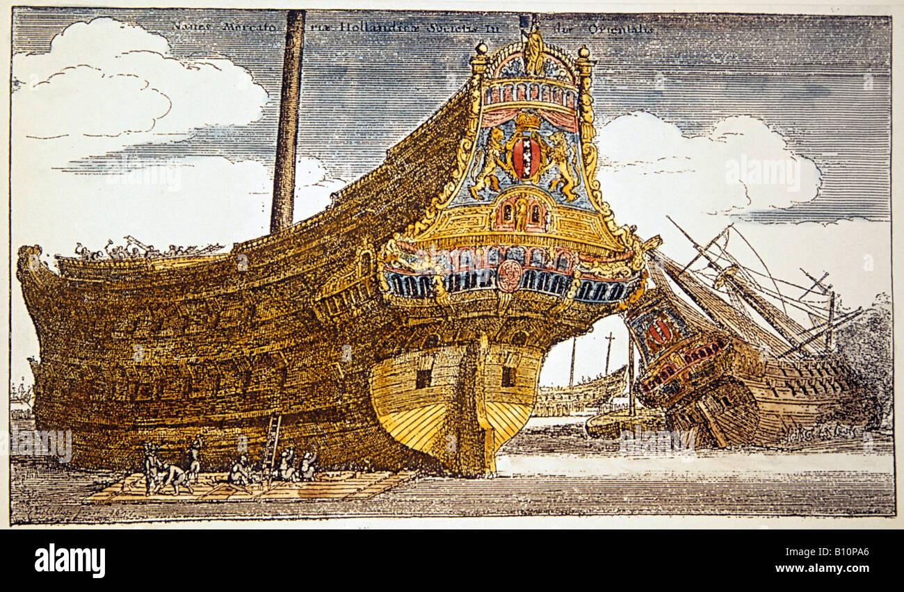 Dutch warships 17th cent German engraving. - Stock Image