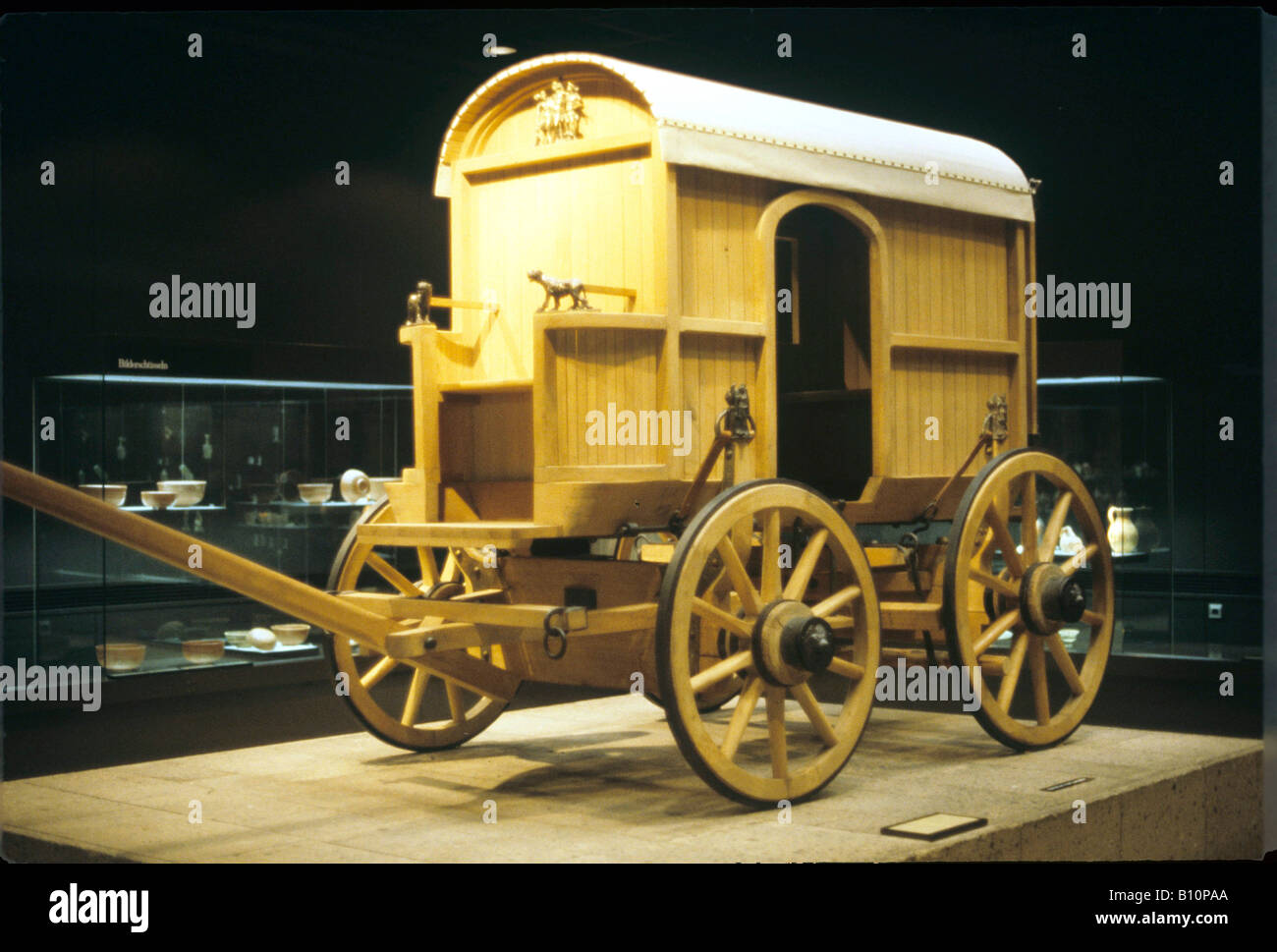 Replica of Roman carriage. Life Size reconstruction. Stock Photo
