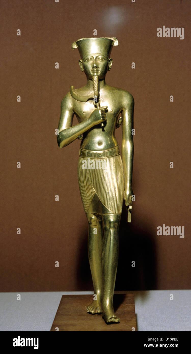 Gold statuette of Amun Karnak 945 664 BC Amon Ra Copyright AAA Collection - Stock Image
