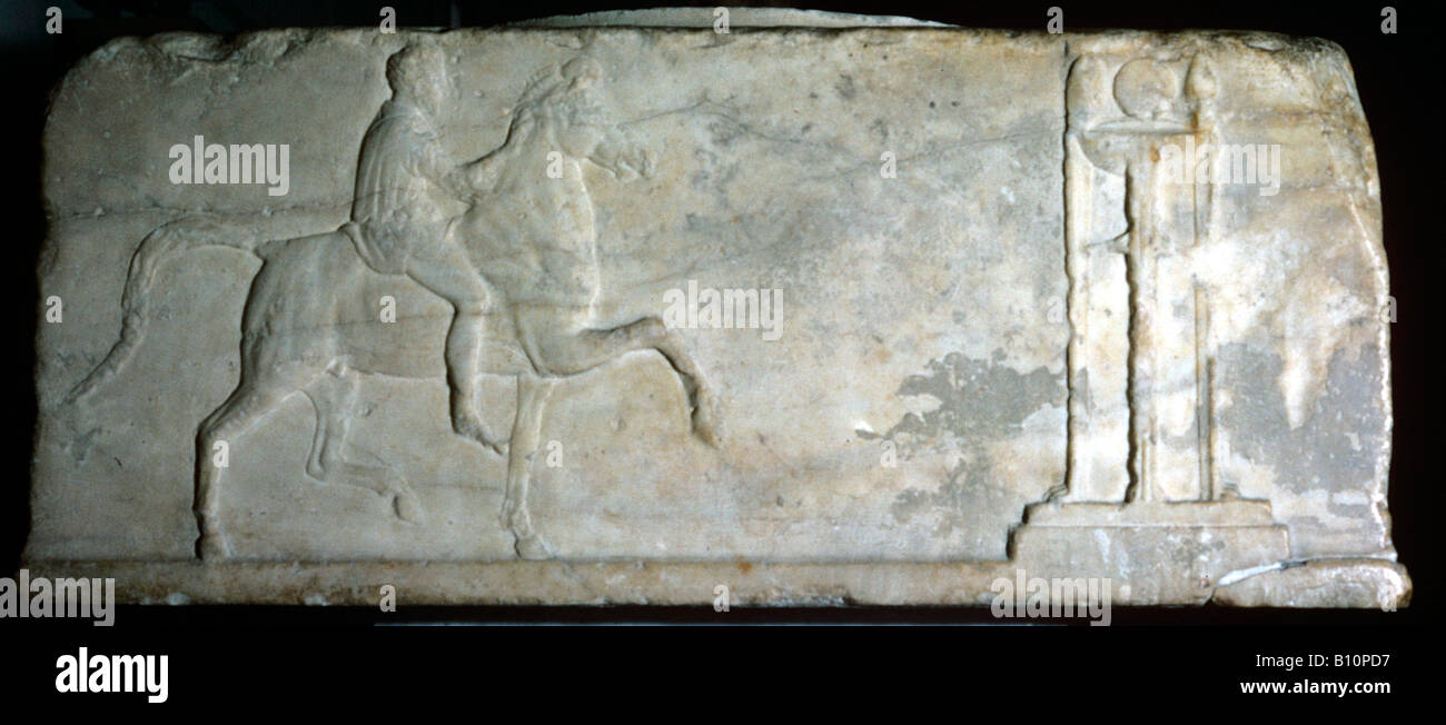 Horseman approaching a tripod Bryaxis 4th cent BC Ancient Greek relief Copyright AAA Collection - Stock Image