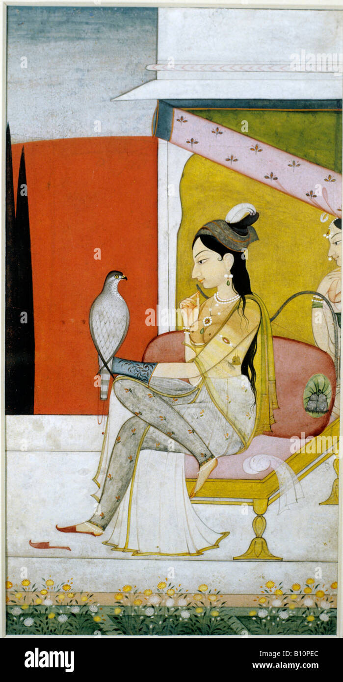 Lady with hawk 1750 Indian manuscript - Stock Image