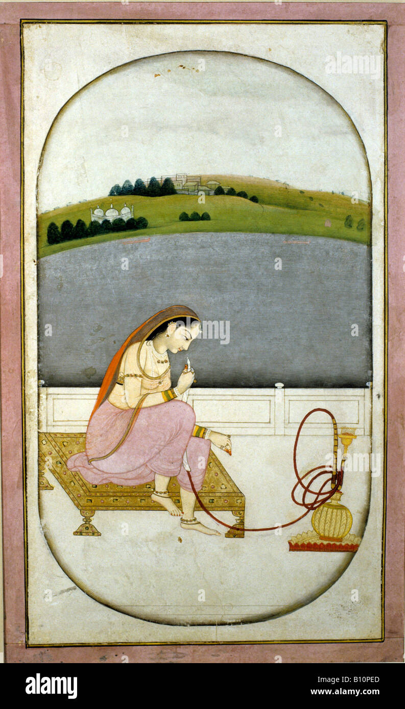 Lady with Hookah 1760 Indian manuscript - Stock Image