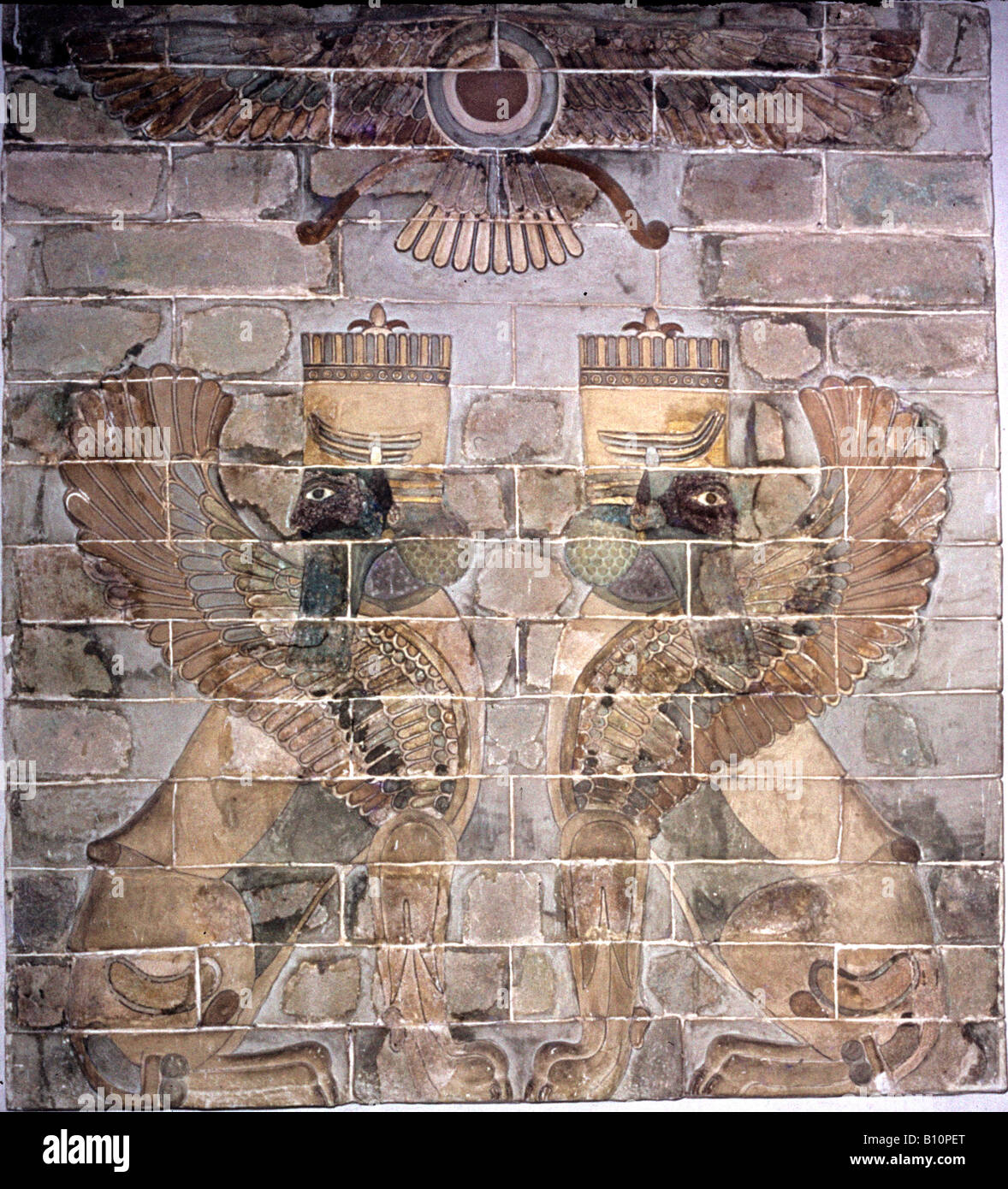 Ahura Mazda Supreme God in the religion of Zoroaster with Sphinxes Susa 404 358 BC Iran - Stock Image