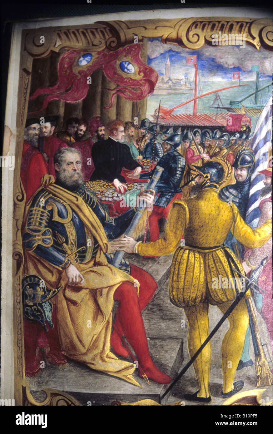 Girolamo Zane as Procurator of St Mark paying troops 16th cent Venice Copyright AAA Collection - Stock Image