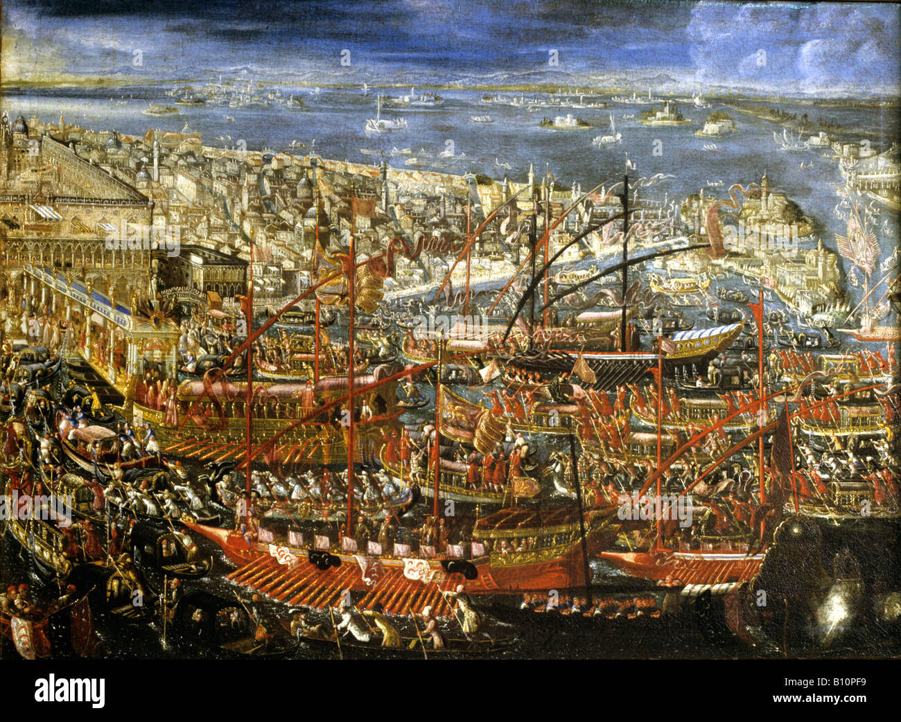 Painting Venetian barges in a ceremony on the water 16th cent - Stock Image