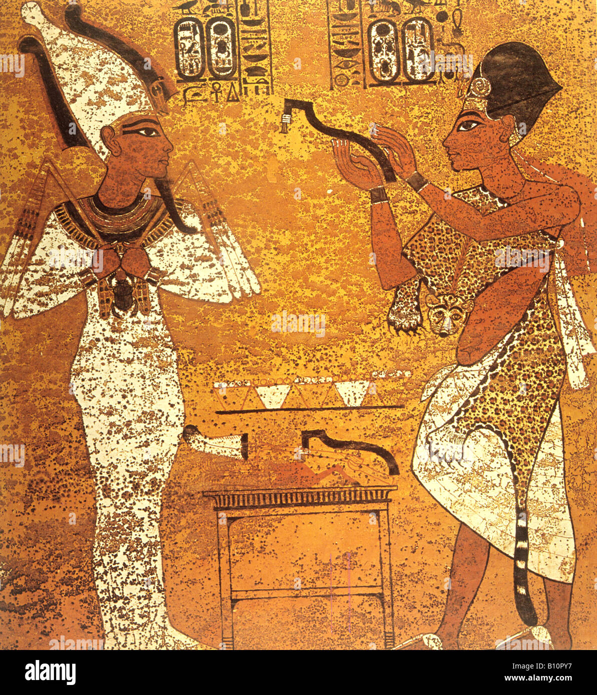 Tutankhamun and Aye fresco Copyright AAAC Ltd - Stock Image