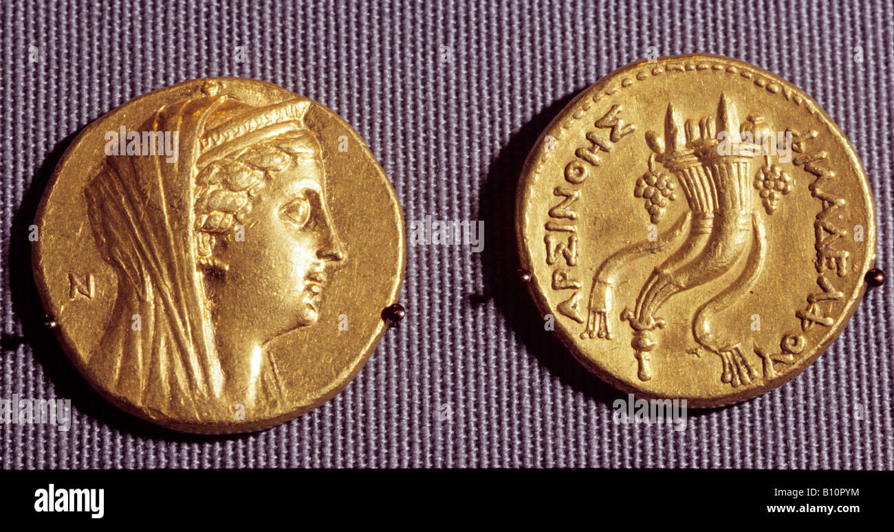 Egyptian coin of Ptolemy IIs wife Arsinoe II and horn of plenty Copyright AAAC Ltd - Stock Image