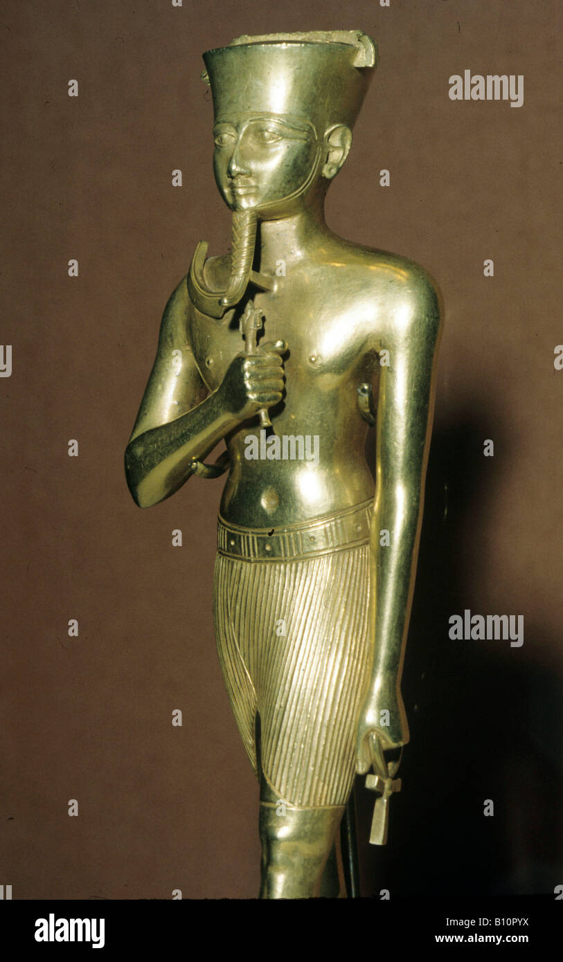 Gold statuette of Amun from karnak 945 664 BC Egypt Copyright AAAC Ltd - Stock Image