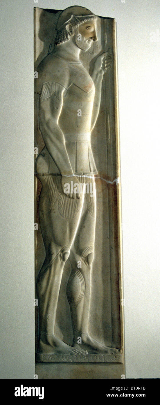 Stele of Aristion Attica who fought at the Battle of Marathon 500 BC Greece  National Archaeological Museum Athens - Stock Image