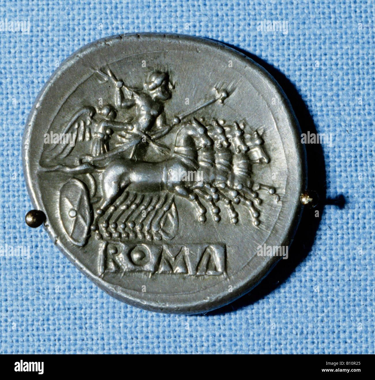Roman coin Roman Republic period 218 212 BC Copyright AAAC Ltd - Stock Image