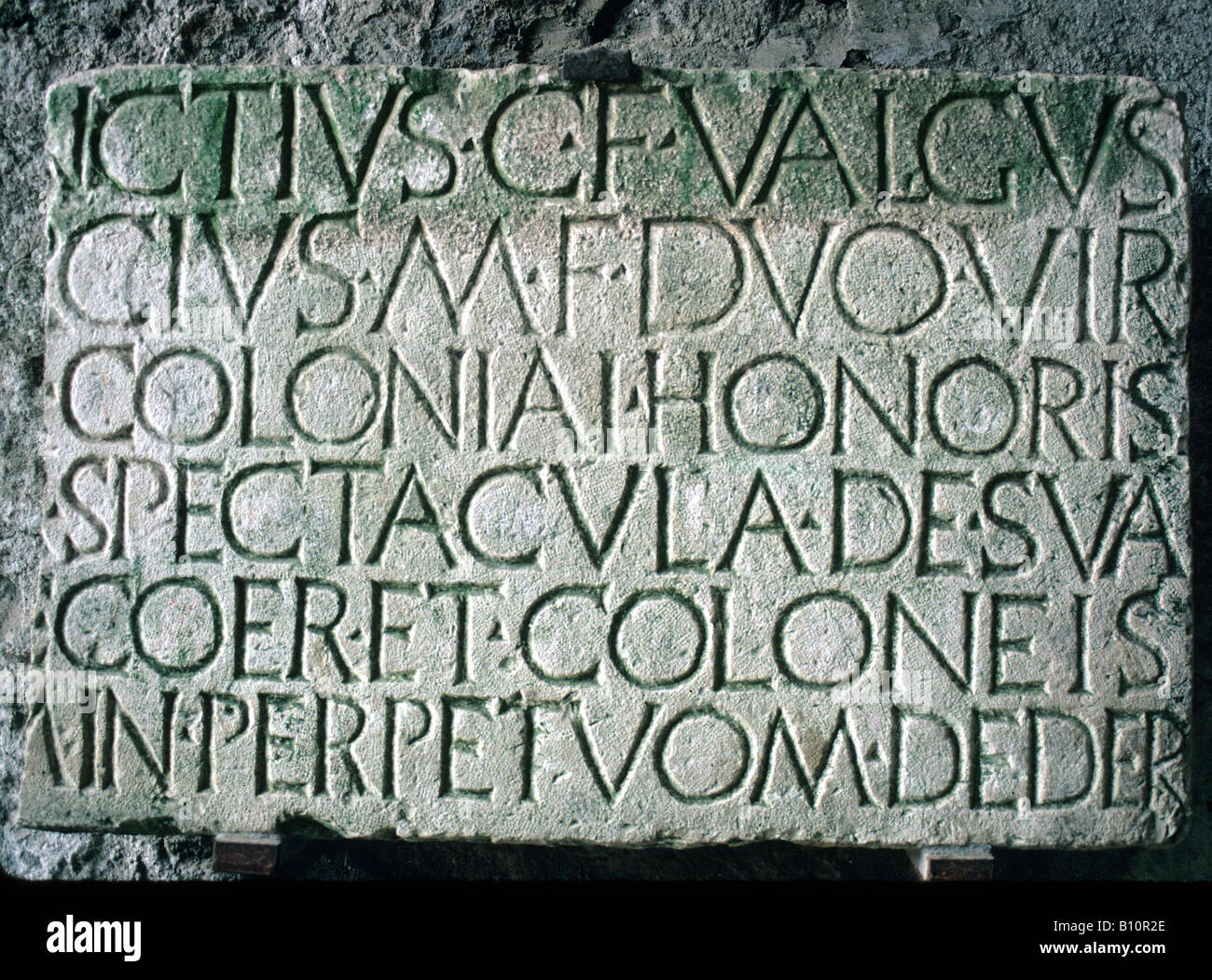 Pompeii Amphitheatre Latin inscription Foundation stone 80 BC Italy Copyright AAA Collection - Stock Image
