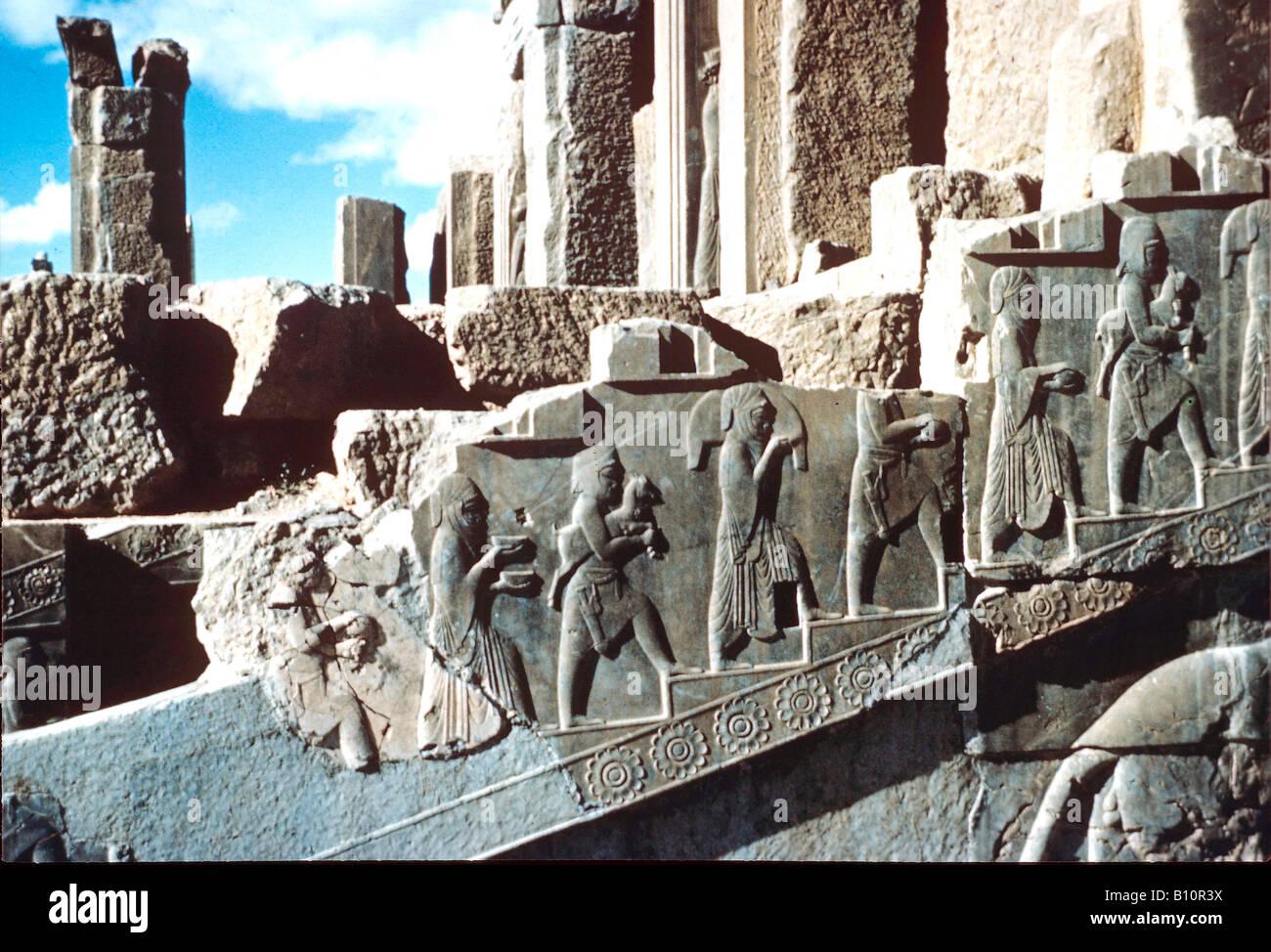 Persepolis Stairway frieze Apadana 518 516 BC Iran  Copyright AAA Collection - Stock Image