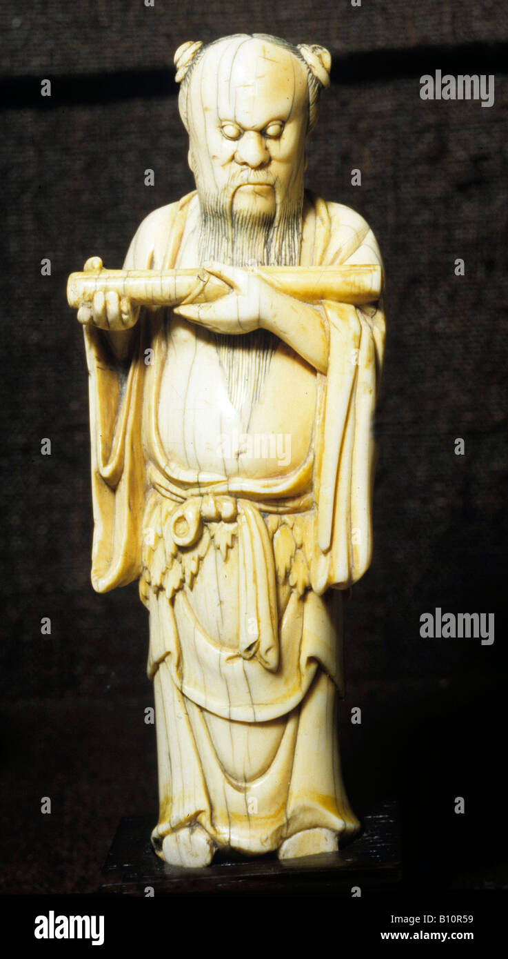 Ming Qing Dynasty ivory of Confucius 16th c China AAAC Ltd - Stock Image