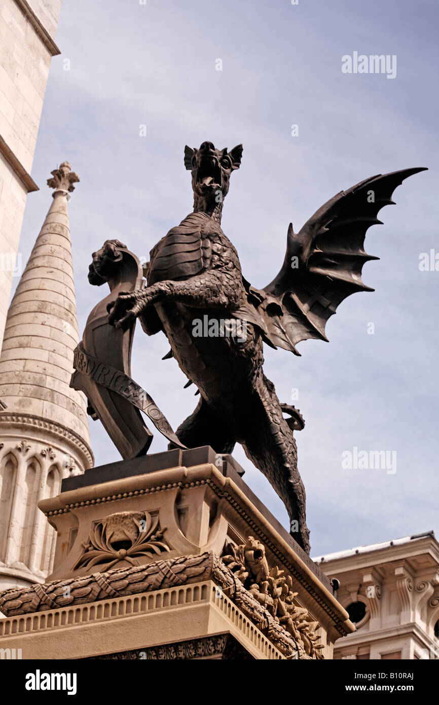 The griffin outside the Royal Courts of Justice London - Stock Image