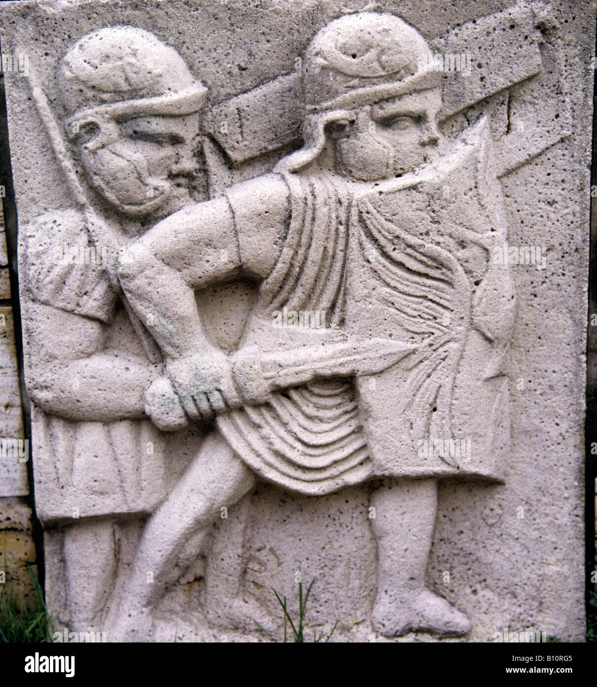 Roman legionaries with shields helmets and dagger 1st c AD Germano Roman Copyright: AAA Collection Ltd - Stock Image