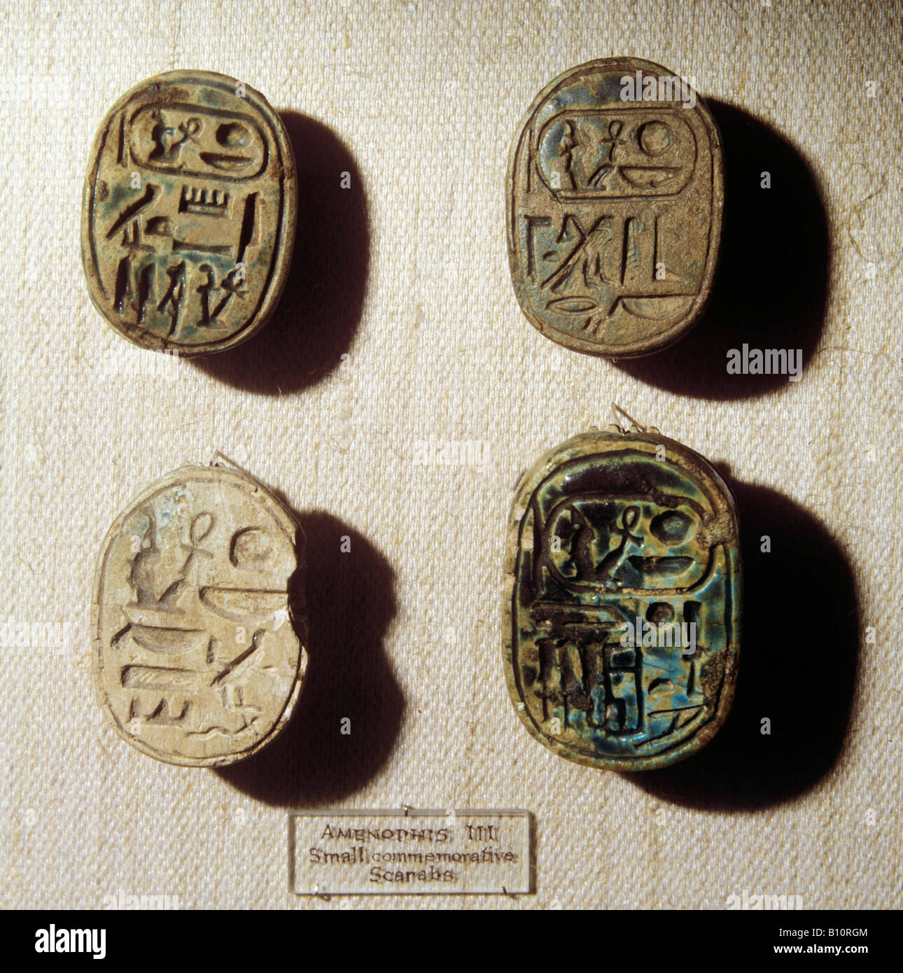 Scarab seals Amenophis II 1450 BC Egypt 18th Dyn  Copyright: AAA Collection Ltd - Stock Image