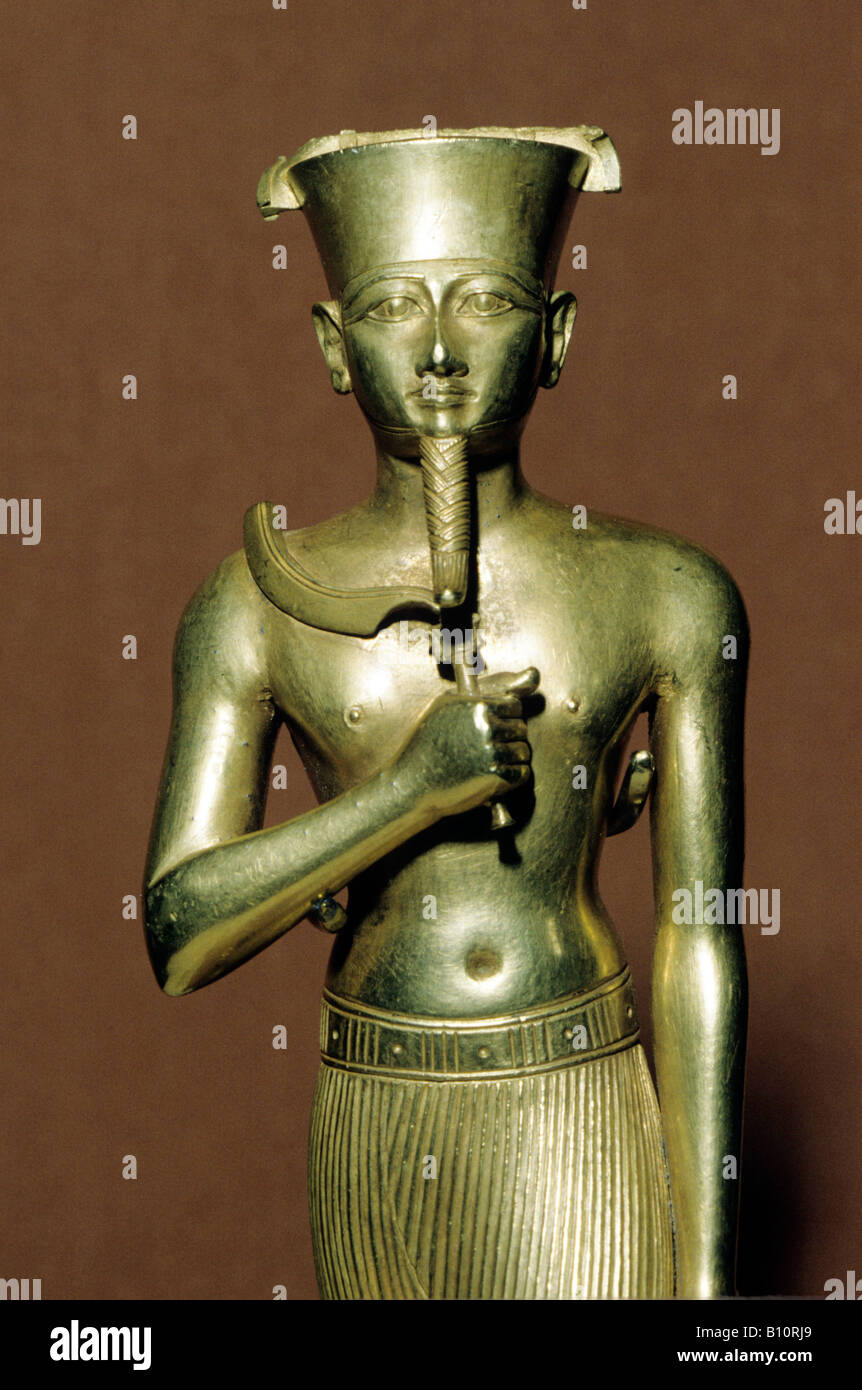 Gold statuette of Amun, Karnak 945 664 BC, Ancient Egypt. ©The Ancient Art & Architecture Collection Ltd. - Stock Image