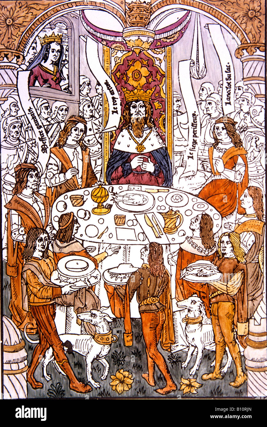 King Arthur and the Knights of the Round Table . From 'Roman de la Table Rond' 1488 .15th c. drawing. - Stock Image