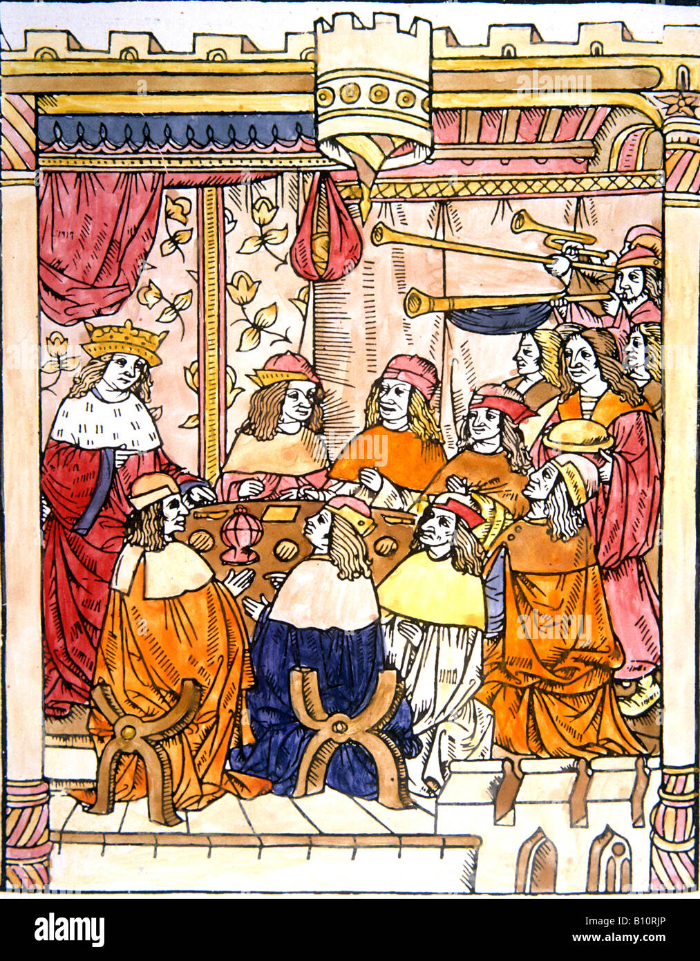 King Arthur and the Round Table from Miroir Historiare 1495 Drawing ©The Ancient Art & Architecture Collection - Stock Image