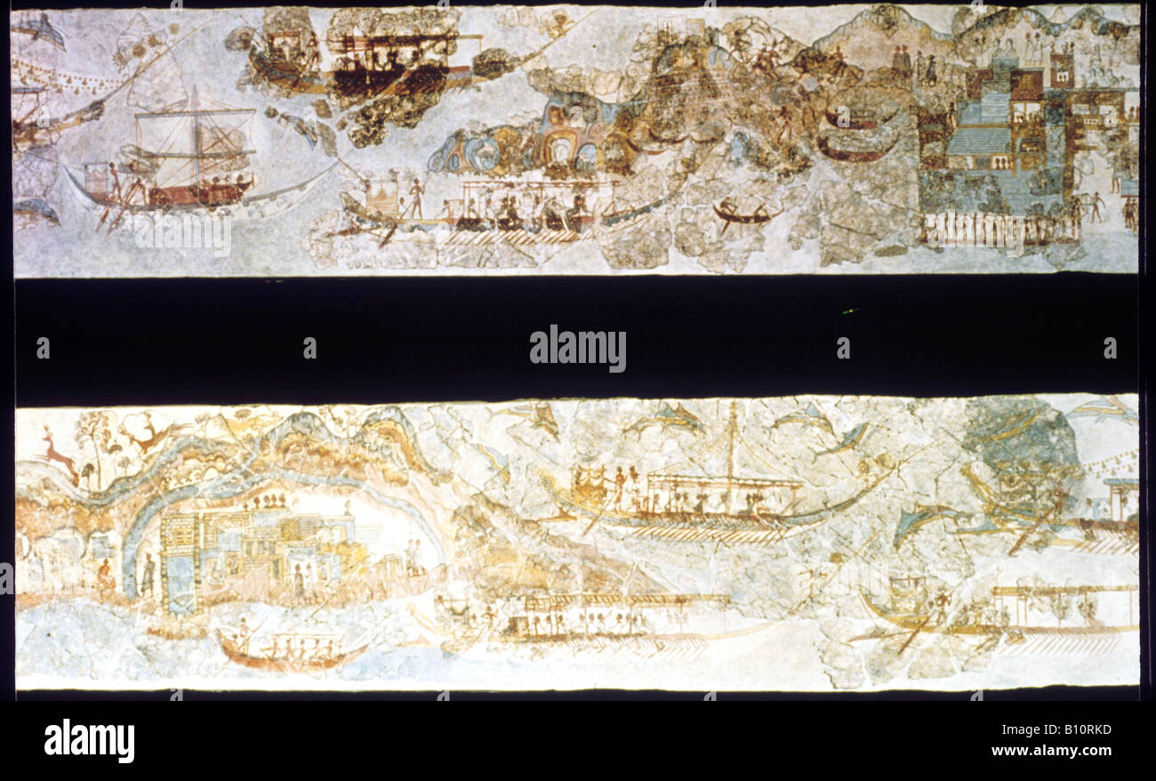 Minoan ships Thera Santorini fresco wall painting 16C BC. Landscape and Ships  ©The Ancient Art & Architecture - Stock Image