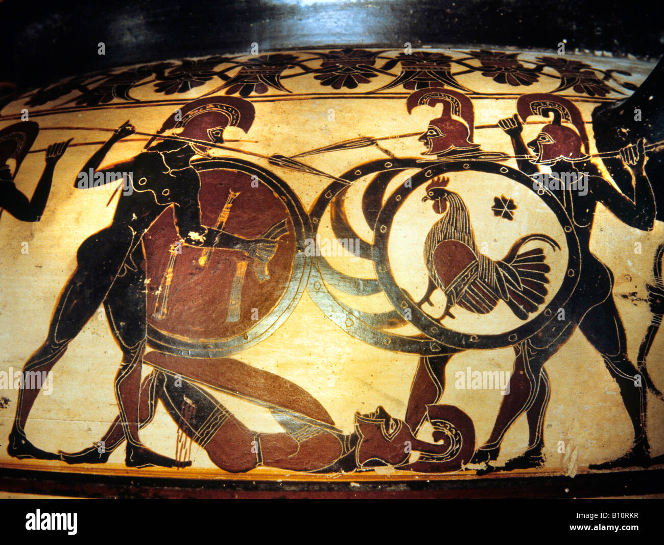 Corinthian krater. Painting. Scene of battle before Troy. 600 BC - 590 BC. Archaic period.  Louvre E 635 (vase) - Stock Image