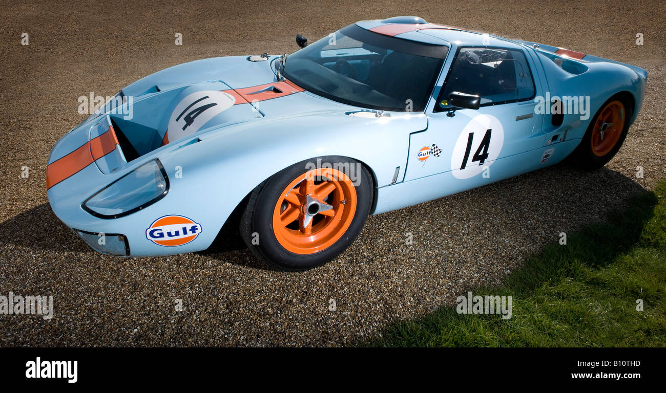 ford gt40 gt le mans racing car auto gulf engine orange blue stock photo 17844329 alamy. Black Bedroom Furniture Sets. Home Design Ideas