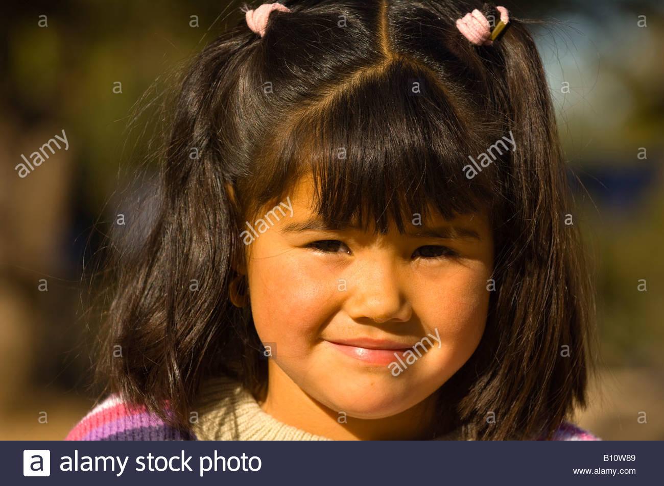 Girl Porochi Lodge Urique Canyon Copper Canyon Mexico - Stock Image