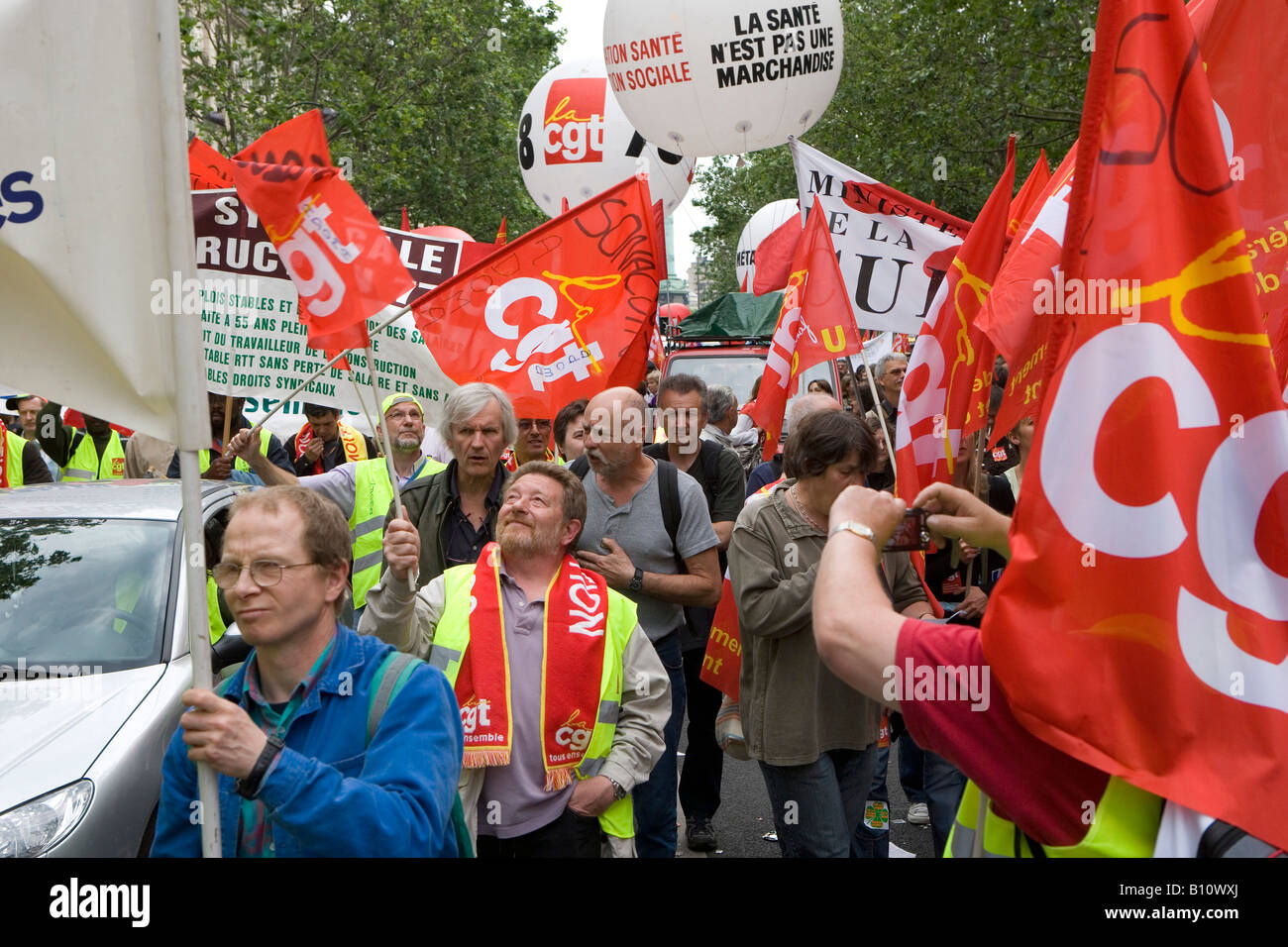 Demonstration in Paris against the inequitable social policy and the pension reform of Nicolas Sarkozy - Stock Image