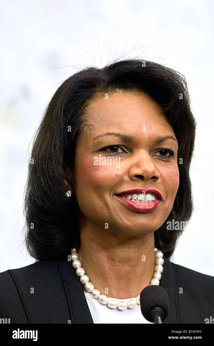US Secretary of State Condoleezza Rice at press conference in Stockholm with Swedish Prime Minister Fredrik Reinfeldt - Stock Image
