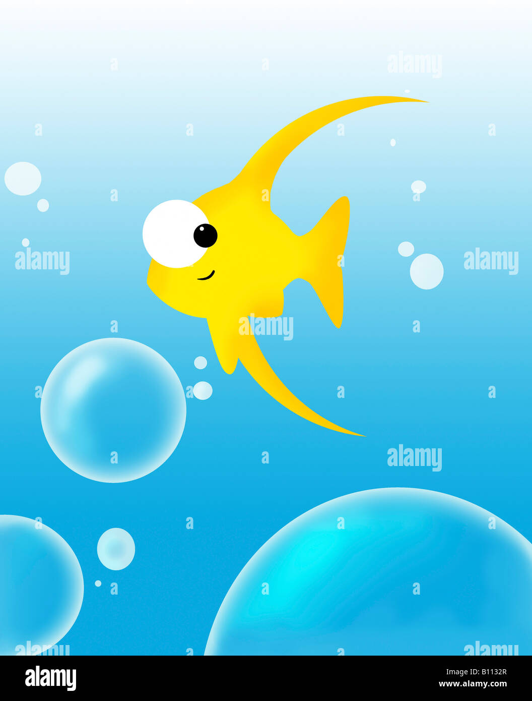 Illustration of fish and bubbles - Stock Image
