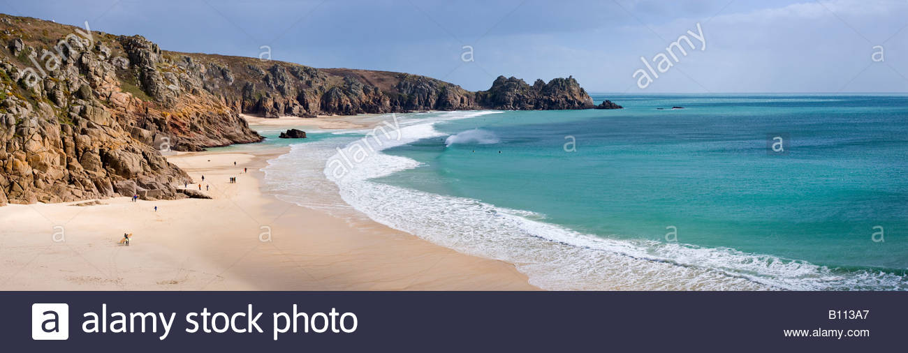 Panoramic view of the Logan Rock and Porthcurno beach, West Cornwall, England. - Stock Image