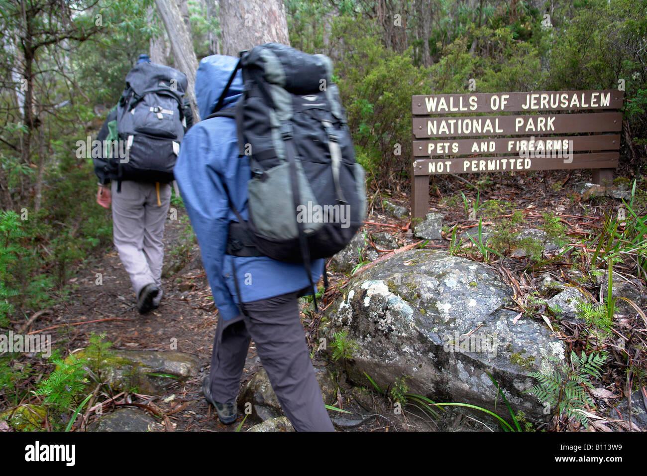 Trekking at Cradle Mountain National Park Cradle Mountain Tasmania - Stock Image