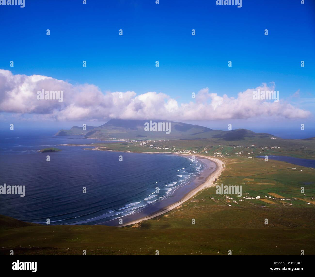 Achill Island, Keel Beach and Croaghaun Mountain, Ireland - Stock Image