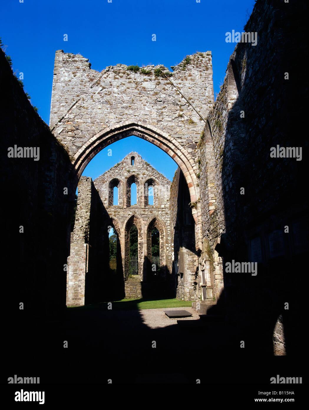Co Down, Grey Abbey, estab. 1193, on Strangford Lough, Ireland - Stock Image